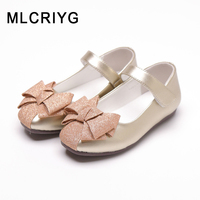 New 2019 Autumn Kids Bow Shoes Children Pu Leather Shoes Baby Girls Black Princess Flats Glitter Shoes Soft Pink Brand Mary Jane