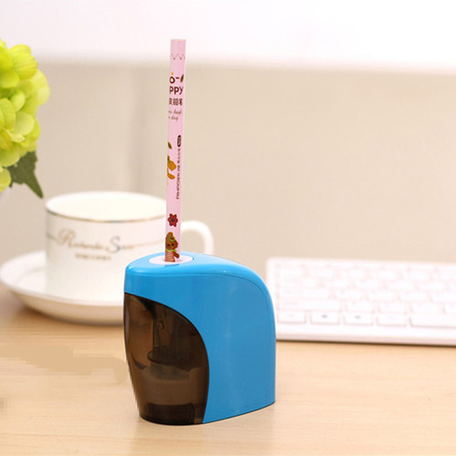 Blue Pencil Sharpener Automatic Electric Battery Switch  For Home Office Students
