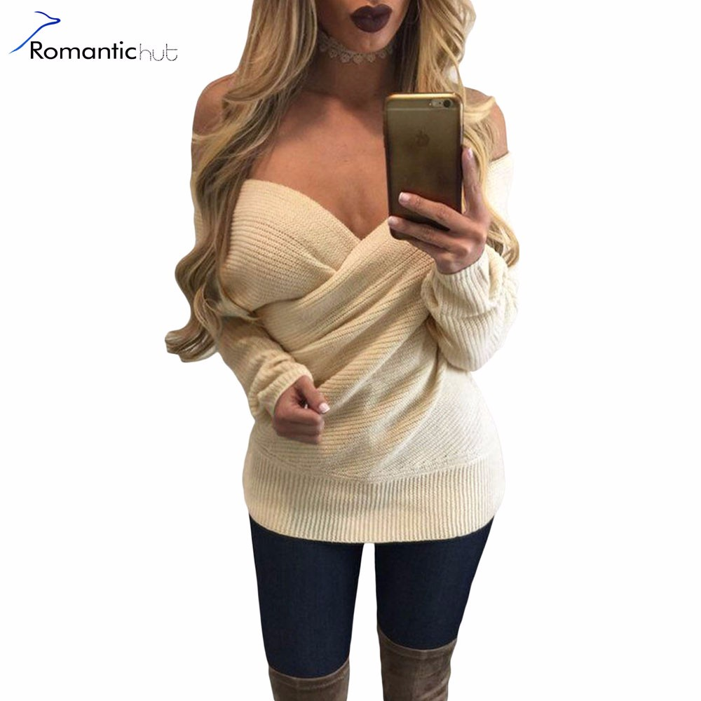 8914833d70 Europe Wrap Front Sexy Ribbed Long Sleeve Sweater Women Sweater New ...
