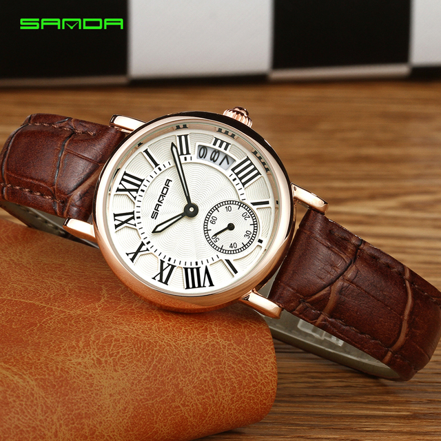 2017 Women watches waterproof luxury brand fashion leather strap quartz watch Ladies Roman Number Bracelet Watches Female clock