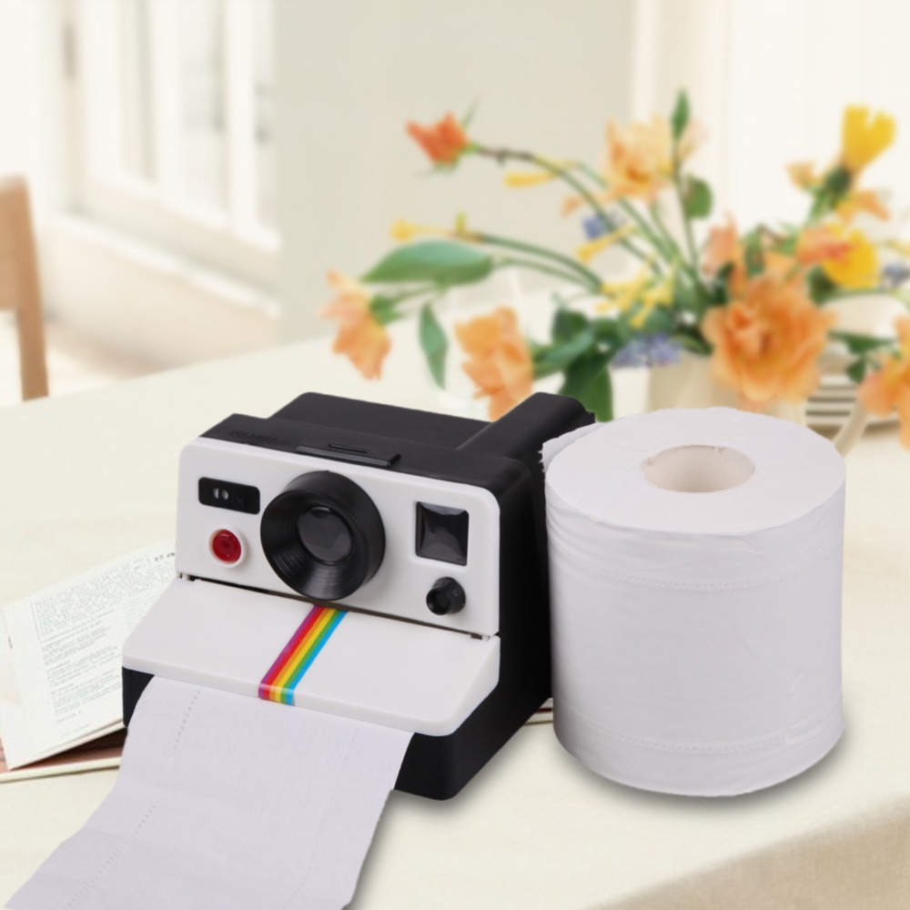1Pcs Creative 80s Style Cute Retro Camera Shape Inspired Toilet Paper Holder/Toilet Roll Box Tissue Dispenser image