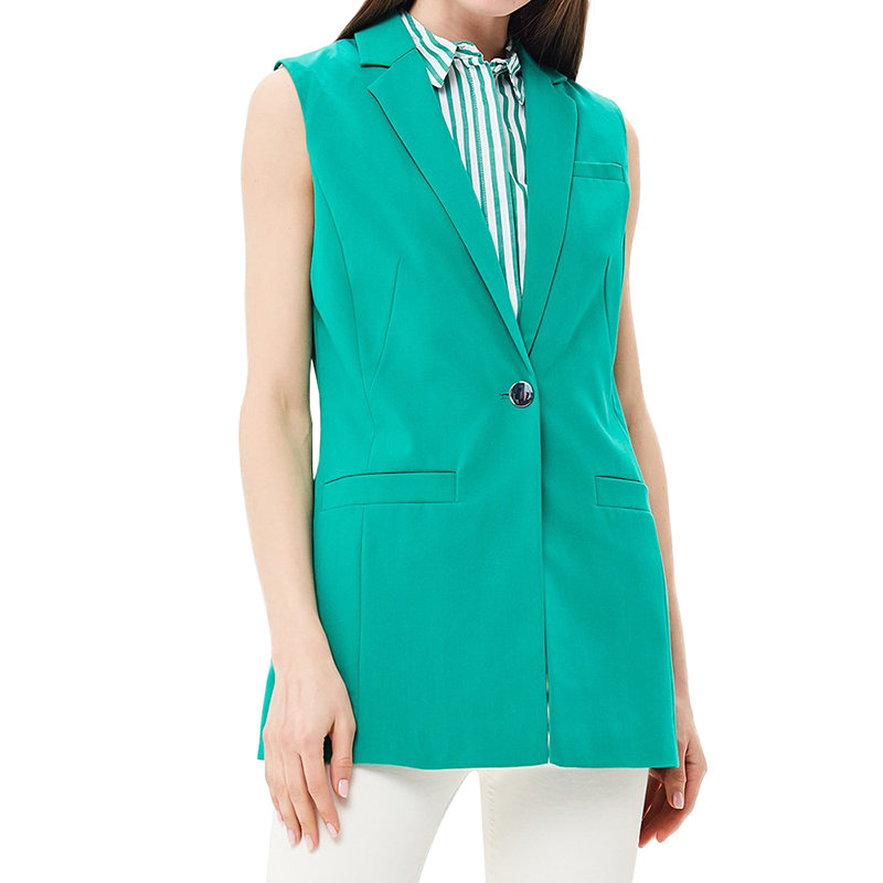 Vests MODIS M181W00959 women vest jacket sleeveless jackets for female TmallFS alluring stand collar sleeveless hollow out ruched crop top for women