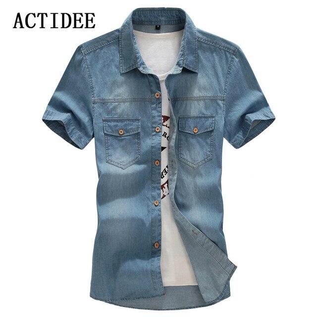 02d1689aa 2018 New Men's Denim Shirts Men Wear Loose Big Yards Short Sleeves Cotton  Shirt Men Plus Size XL L-4XL 5XL 6XL 7XL 8XL 5z