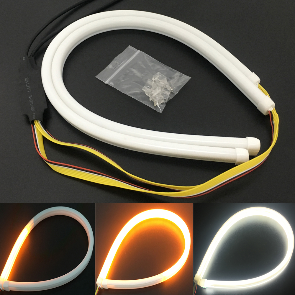 цена на 2X 45cm Daytime Running Lights Flexible DRL LED Strip Light 12V Flexible DRL Headlight Strip Amber Flowing Signal Turn Lamp