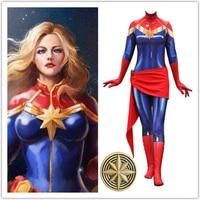 Avengers: Infinity War Cosplay Captain Marvel Zentai Badge Carol Danvers Custome 3D Print Jumpsuit Women Girls Halloween