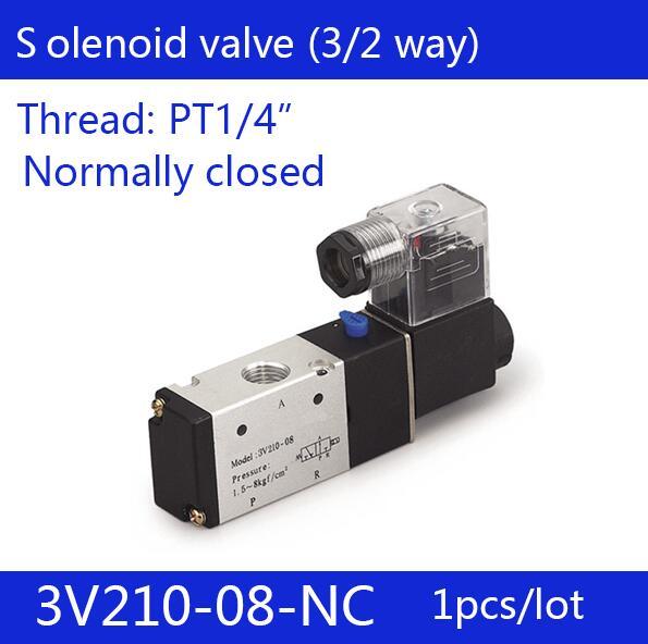 1PCS Free shipping good quality 3 port 2 position Solenoid Valve 3V210-08-NC normally closed,have DC24v,DC12V,AC110V,AC220V