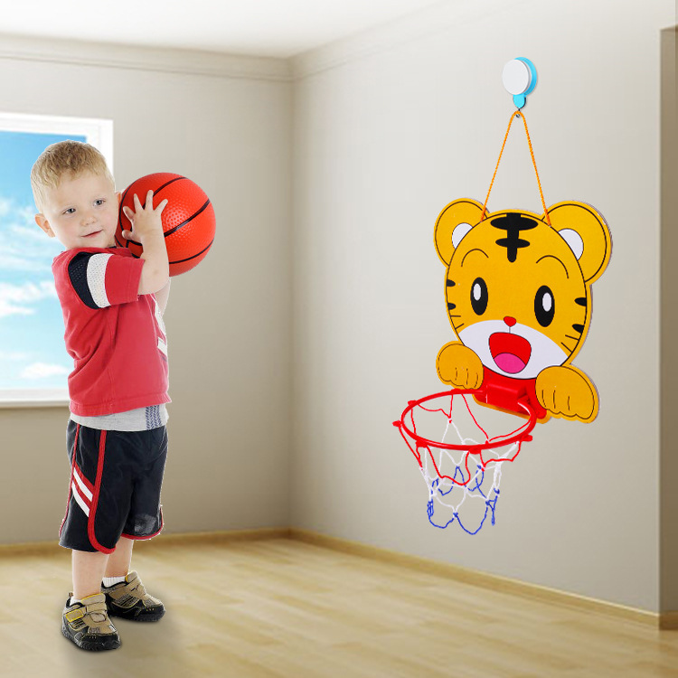 Cartoon Basketball Stand Kids Basketball Toys Adjustable Cartoon Animals Basket Educational Sport Interactive Games Tiger Frog