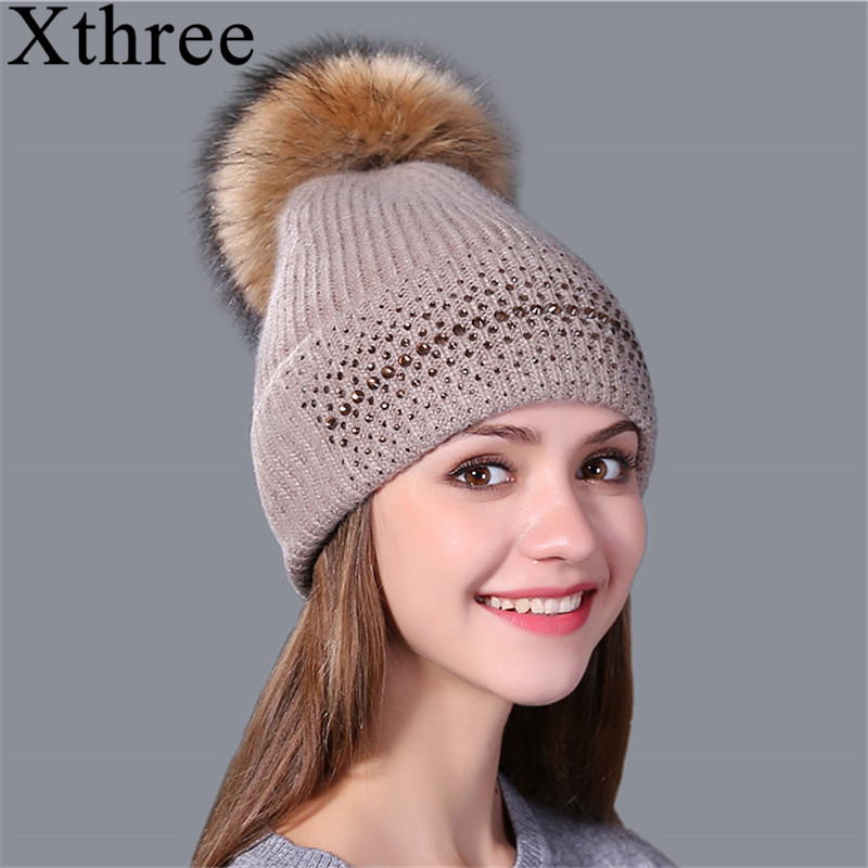 Xthree winter beanie hat for women real mink fur pom poms wool knitted girl 's hat brand new thick female cap xthree real mink fur pom poms knitted hat ball beanies winter hat for women girl s hat skullies brand new thick female cap
