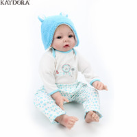 KAYDORA 22 Inches 55cm Silicone Doll Reborn Baby Kids Toys Lifelike Real Alive Girls Boneca Blue Eyes Gold Mohair Gift Dolls