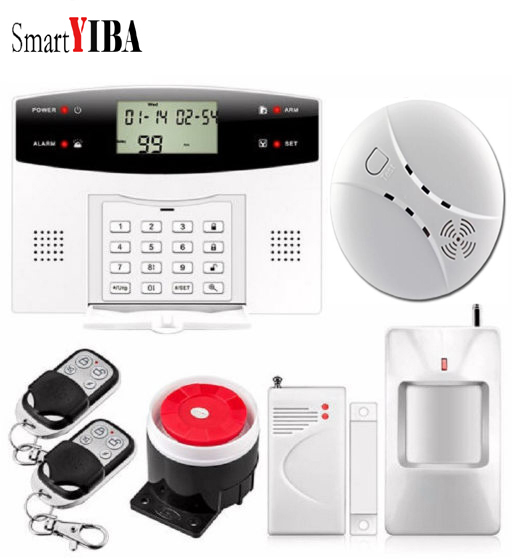 SmartYIBA LCD GSM Alarm System With French Spanish Russian Voice Two Way Intercom Home Security Burglar Alarm Smoke Detector smartyiba wireless 433mhz gsm alarm system home burglar alarm system lcd keyboard fire smoke detector sensor russian french