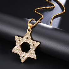 HIP Hop Bling Iced out Jewish Magen Star 316L Stainless Steel Necklaces & Pendants for Men Women Jewelry