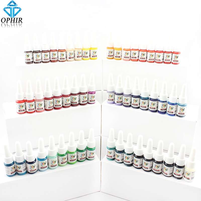 OPHIR 54 Colour Tattoo Inks Supply High Qualtiy Ink pigment 5ml/bottle supply Tattoo Body Art #TA025 outdoor inkjet printer bulk ink system adapter with liquid sensor and air filter 3 hole uv inks 1 5l sub tank inks bottle part