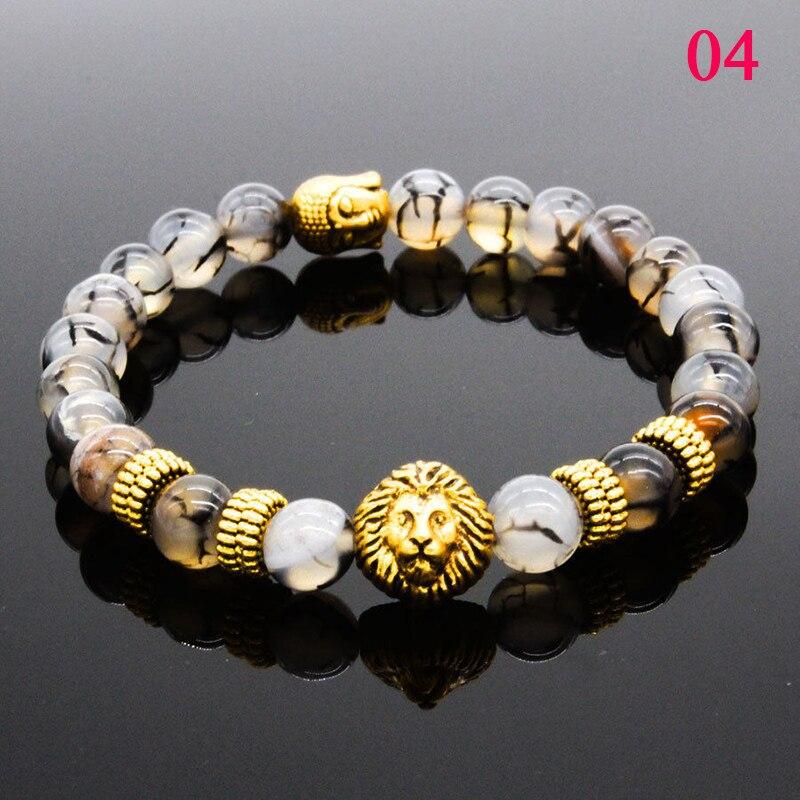 Fashion 8MM Men's Natural Stone Silver Plated Lion Buddha Beaded Charm Bracelets 19cm