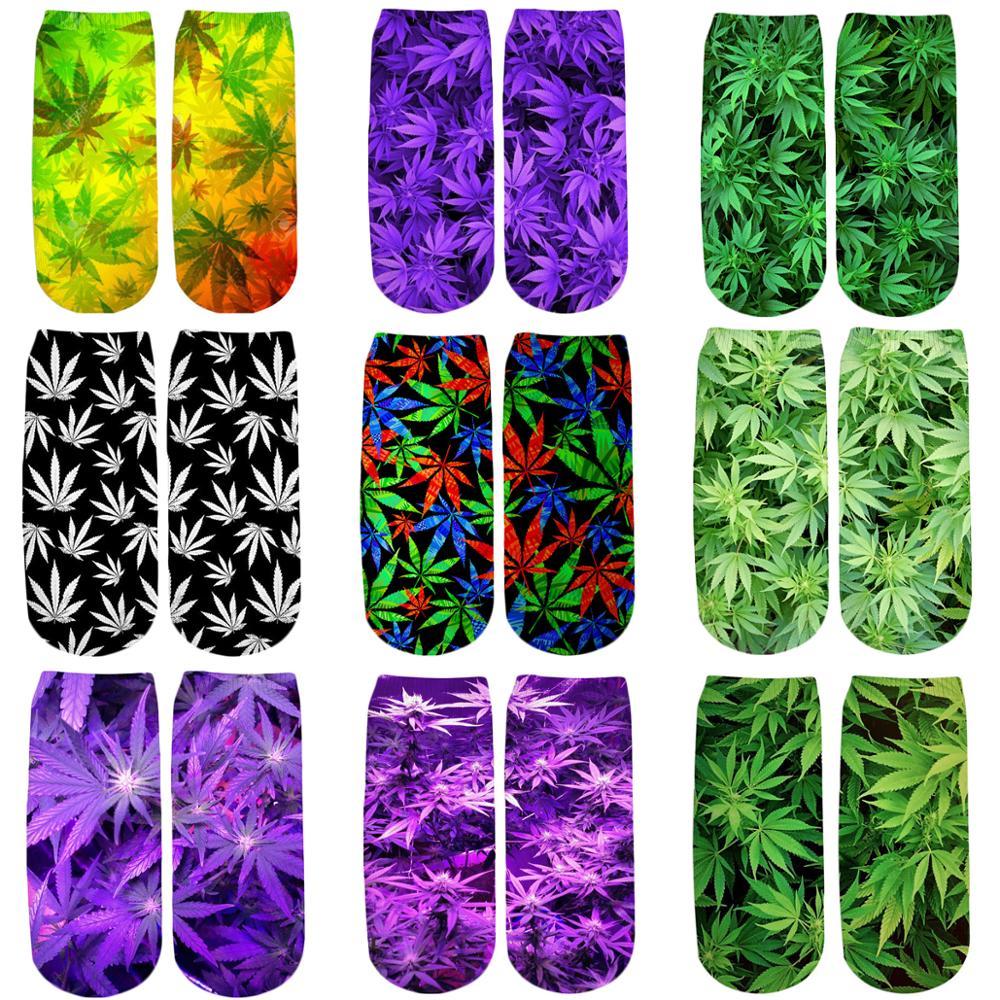 PLstar Cosmos 2019 New 3D Printed Green/Colorful weed cute cotton short ankle   socks   for women ladies harajuku korean   socks