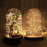 Clear Glass Display Dome With Wooden Base Wedding Decoration Flower Vases Glass Domes Mother Day Gifts