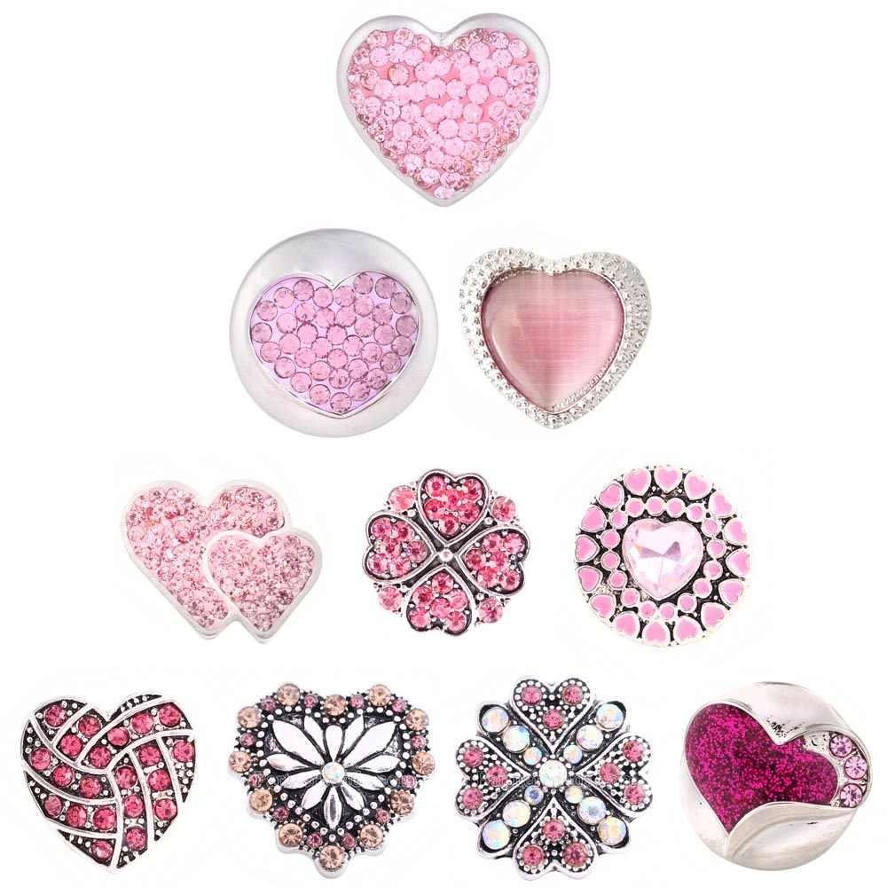 2018 walentynki różowy biały srebrny kryształ snap koraliki Love Heart Snap koraliki fit 18mm bransoletka biżuteria kolczyki dla kobiet