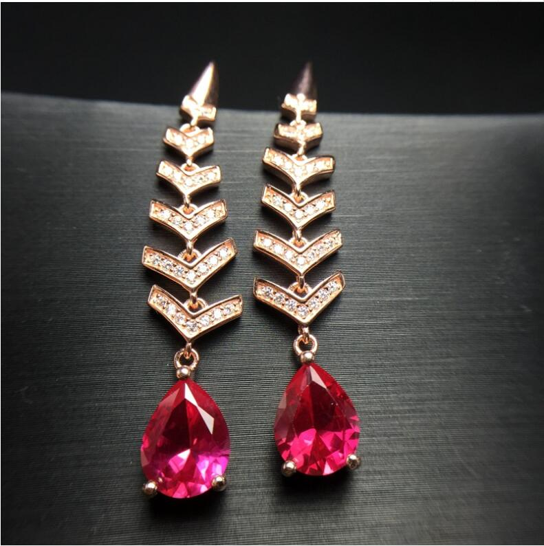 все цены на Ruby stud earring Free shipping ruby 925 sterling silver Ruby Earring 7*9mm онлайн