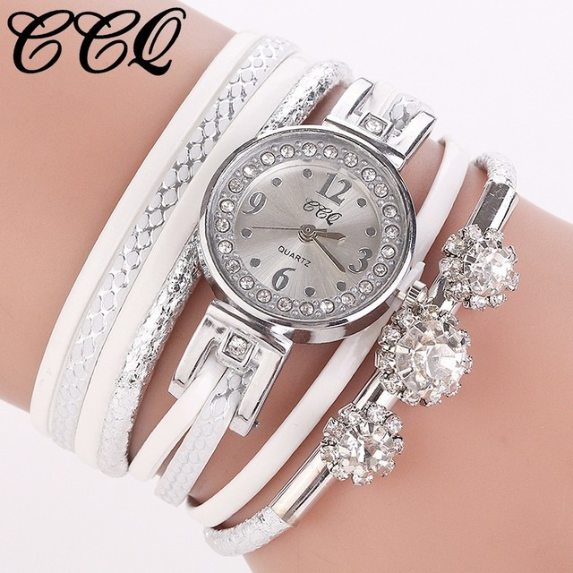 Hot Fashion Women Bracelet Watch For Luxury Leather Silver Crystal Clock Quartz