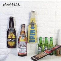 Hoomall Vintage Wall Mounted Wooden Plaque Beer Shaped Bottle Openers Cap Catcher American Country Home Bar