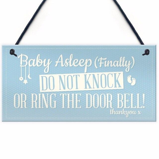 Meijiafei Baby Asleep Bedroom Door Sign Sleeping New Born Mum Hanging Wall Plaque Shower Gift 10 X 5