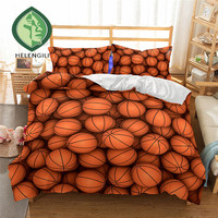 HELENGILI 3D Bedding Set Basketball Print Duvet cover set lifelike bedclothes with pillowcase bed set home Textiles #2 03