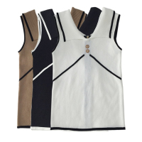 Summer Women Casual Sleeveless Knitted Vest Tank Tops Korean Fashion Turn Down Collar Solid Color Patchwork