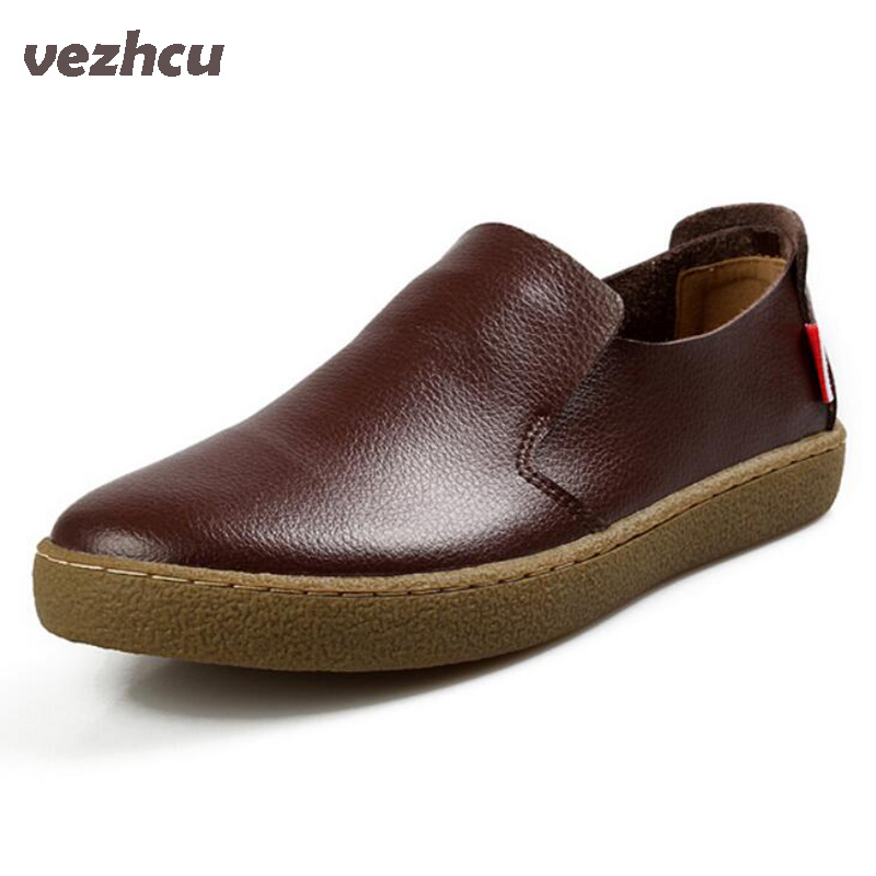 VZEHCU fashion Casual Flats Shoes Men 100% Genuine cow Leather shoes Fashion slip on flats comfortable loafers 5A02 cbjsho brand men shoes 2017 new genuine leather moccasins comfortable men loafers luxury men s flats men casual shoes