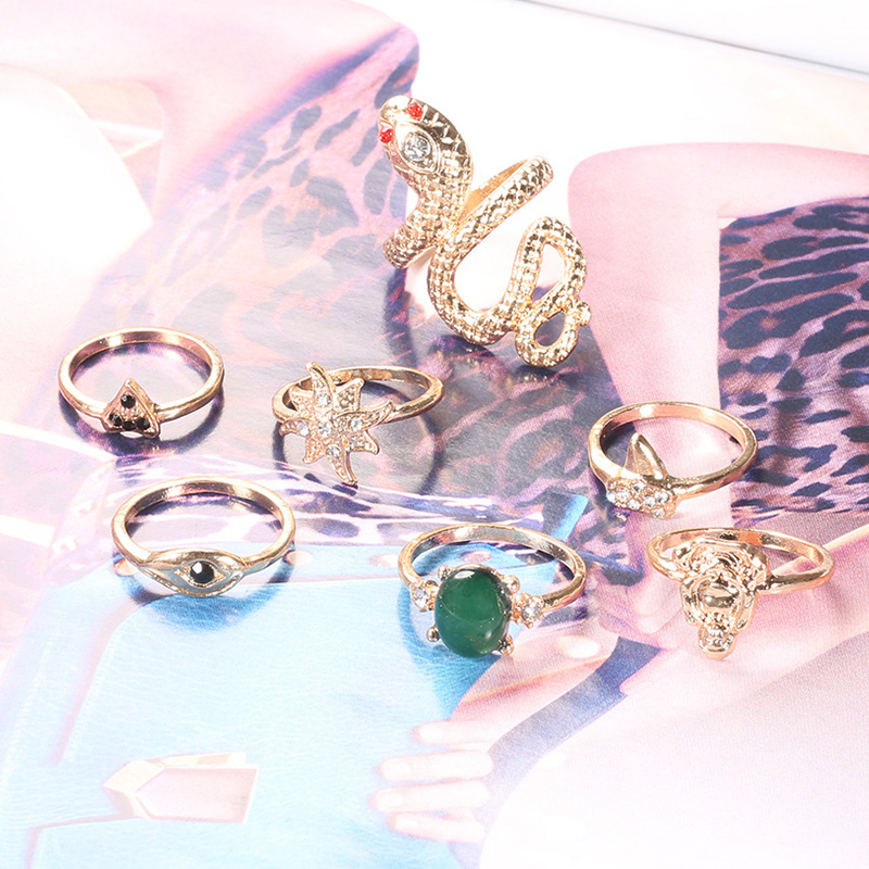 7 Pcs/Set Boho Snake Star Eyes Buddha Statue Gem Triangle Gold Adjustable Ring Set