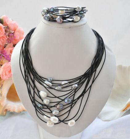 Ensemble de bijoux en cuir perle classique, 15 rangées, 13mm multicolore riz perle naturelle Bracelet en cuir noir, fermoir aimant