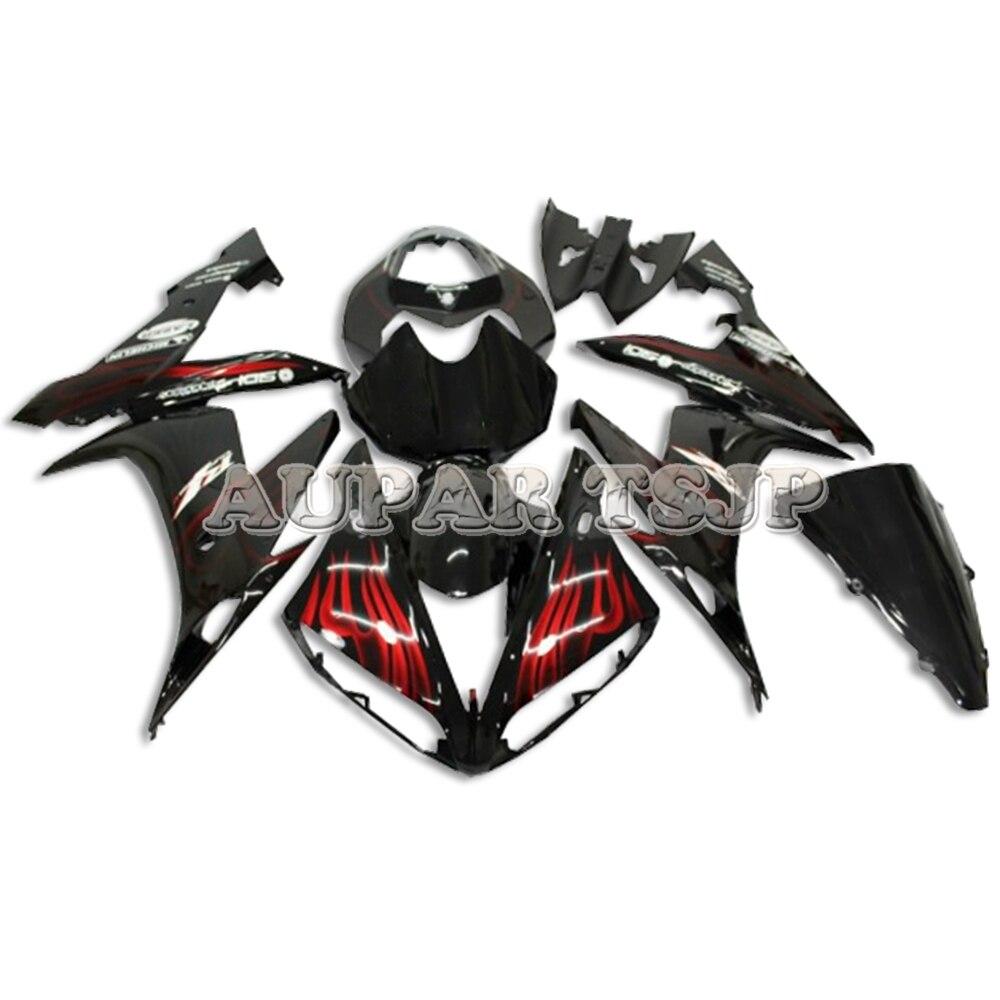 Kit de carénage en plastique noir flammes rouges Sportbike pour Yamaha YZF1000 R1 2004 2005 2006 04-06 carénages d'injection ABS moto