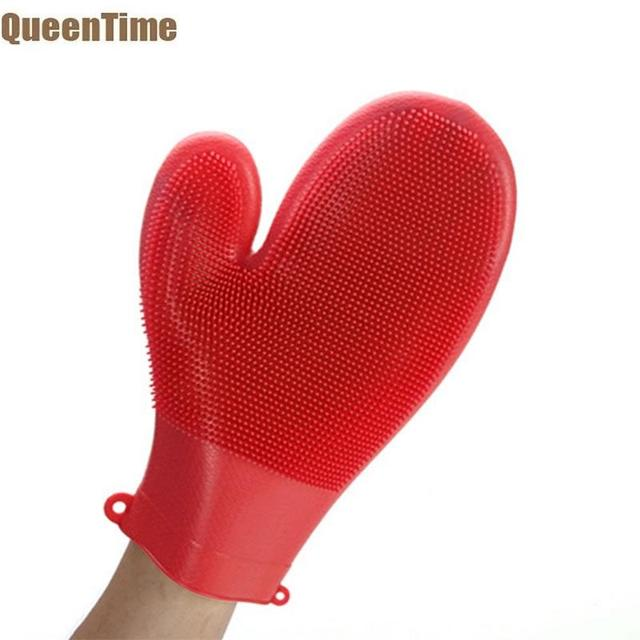Kitchen Gloves Ceramic Tile Countertops Queentime Silicone Heat Resistant Oven Mitts Bbq Cooking Holding Pot And Pans