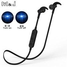 M&J Metal Magnetic Switch Wireless Sport Anti-sweat Metal Headset Earbuds Earphones with Mic In-Ear for iPhone SmartPhones
