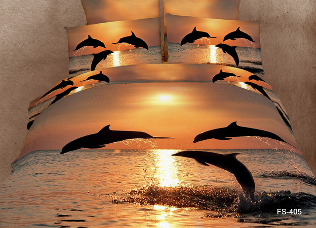 Personality trend of the 3d 100% cotton the scenery oil painting four piece bedding set fashion dolphin 3d bedding sets