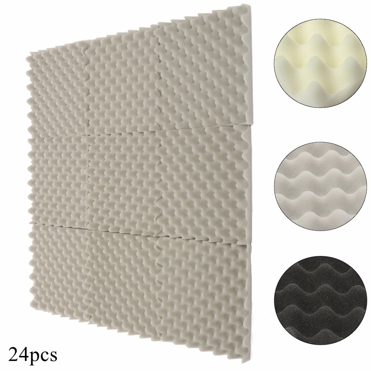 24Pcs 305x305x40mm Soundproofing Foam Acoustic Foam Sound Treatment Studio Room Absorption Wedge Tiles Polyurethane foam foam
