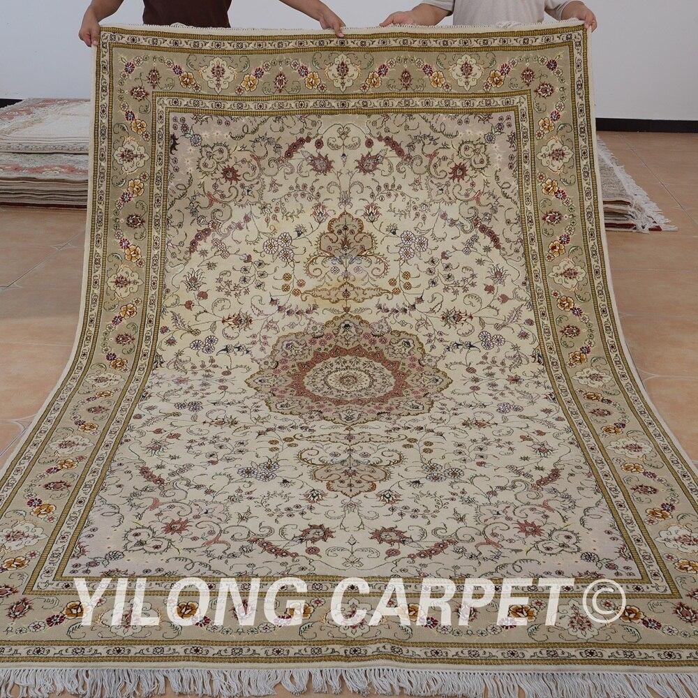 Yilong 6 X9 Oriental Handmade Wool Thick Carpet Beige Exquisite