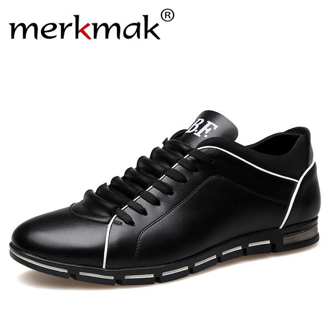 Merkmak Hombres de Cuero Zapatos Casuales Zapatos de Moda de Otoño Para Los Hombres diseñador de Zapatos Cómodos de Gran Tamaño 38-47 Zapatos Para Hombre Suave mocasines