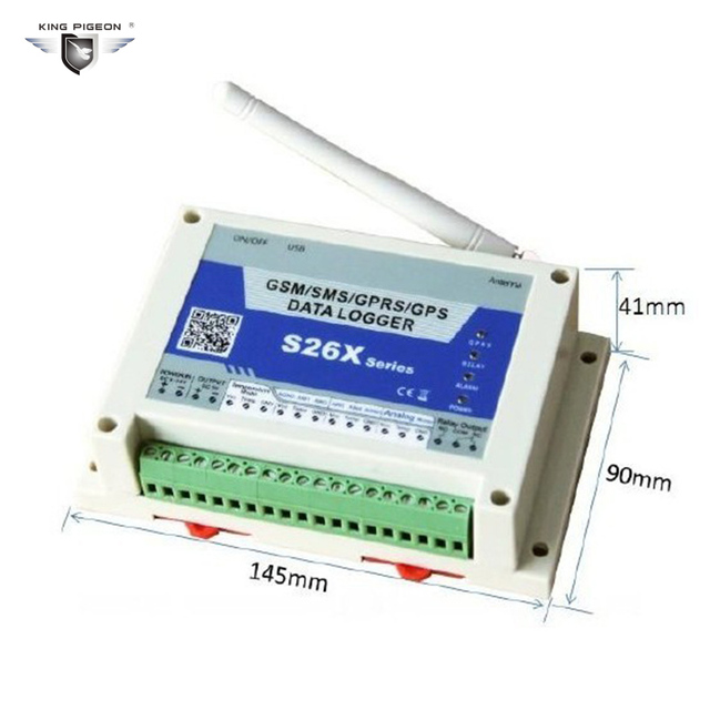 GPRS GPS SMS Data Logger Wireless GSM Remote Controller 4 Analog Input 1 Digital Relay Output Temperature Alarm System S262