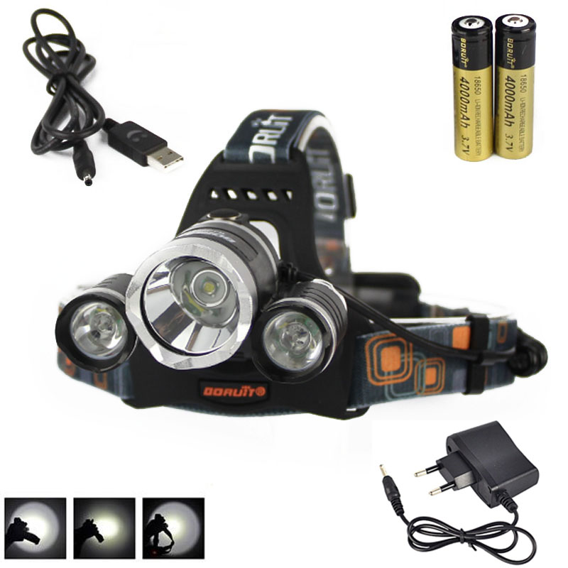Boruit 8000Lm 3x XML T6 LED phare phare phare torche + batterie Rechargeable 2X18650 + chargeur AC/USB