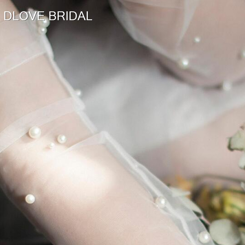 Vintage Pearl Sheer Tulle Gloves Wedding Bridal Party Gloves Fingerless Elbow Photo Shooting Accessory 30cm