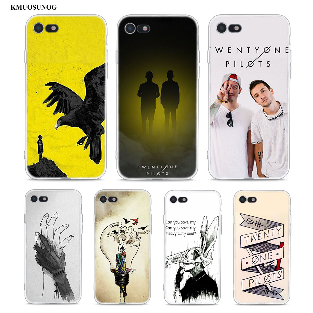 the latest 9b985 af4f4 Transparent Soft Silicone Phone Case Twenty One Pilots For Iphone XS X XR  Max 8 7 6 6S Plus 5 5S SE