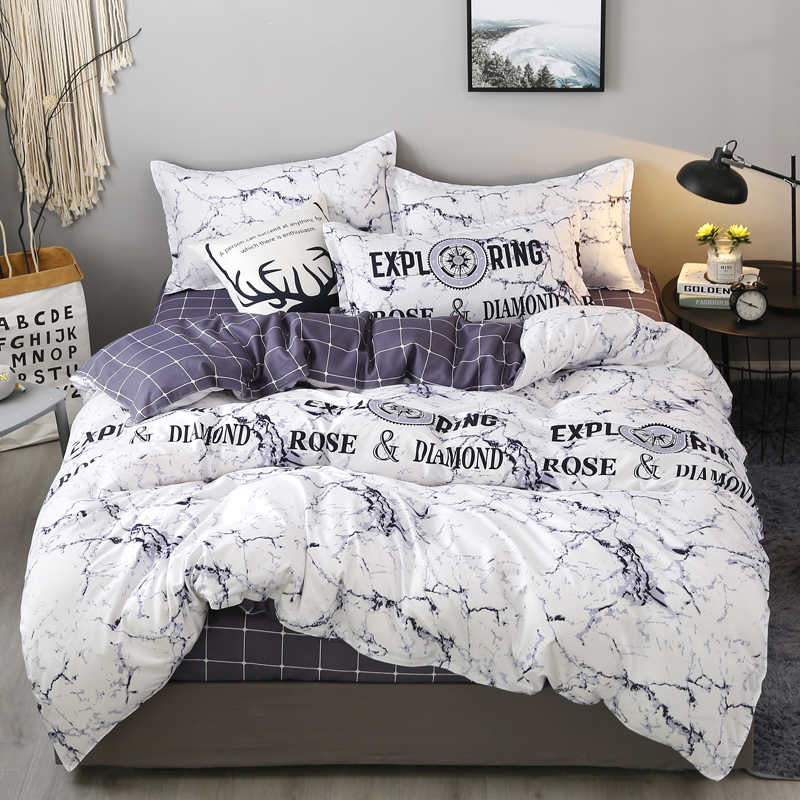 Printed Marble Bedding Set White Black Gray Duvet Cover King Queen Size Quilt Cover Brief Bedclothes Comforter Cover 3/4Pcs