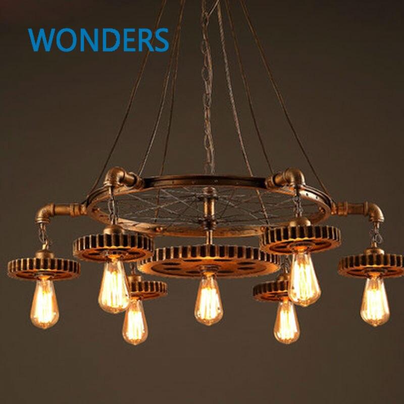 loft style pendant lamp creative gear suspension luminaire personality edison light fixtures bar retro art deco