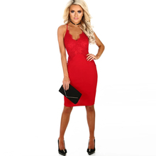 New Red Dress Womens Glamorous Lace Cutout Halter Pencil Sexy Club Party