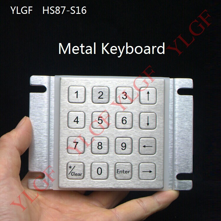 Metal keyboard  Up, down, left, right,COM data +USB power supply YLGF HS87-S16  waterproof (IP65), dust, anti violence metal keyboard ylgf ps 2 super mini embedded industrial key waterproof ip65 dust anti violence stainless steel ring