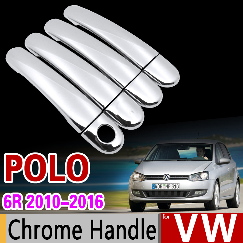 for VW   POLO   6R 6C 2010-2016 MK5 Chrome Handle Cover Trim Set CrossPolo Vento 2012 2013 2014 Car Accessories Stickers Car Styling