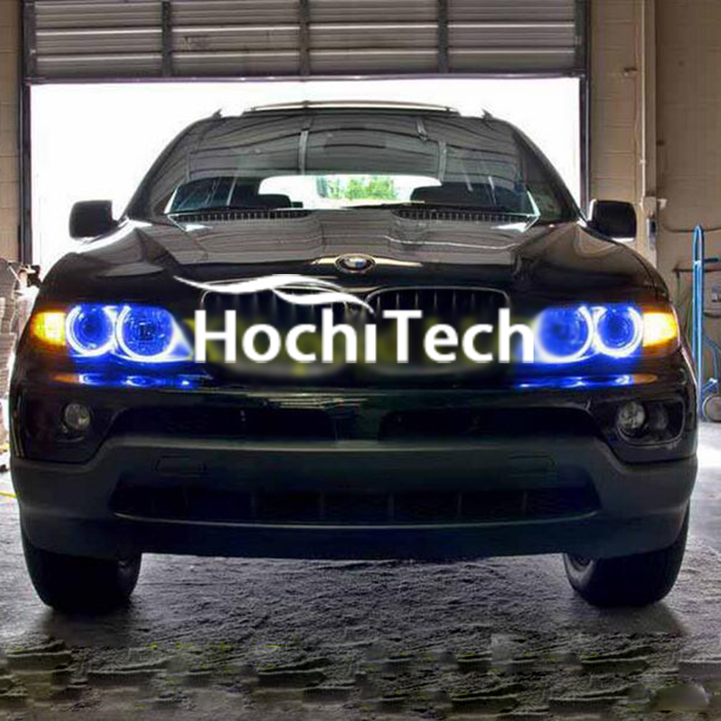 Super bright LED angel eyes for BMW X5 2000 to 2006 COLOR SHIFT Headlight Halo Angel Demon Eyes Rings Kit super bright led angel eyes for bmw x5 2000 to 2006 color shift headlight halo angel demon eyes rings kit