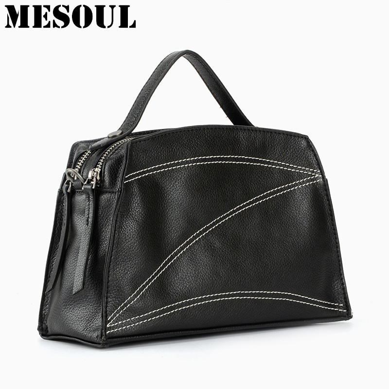 MESOUL Tote Hand Bag Women's Handbag 100%  Genuine Leather Crossbody Bag For Women Shoulder Bags New Arrival Box Style Handbags aosbos fashion portable insulated canvas lunch bag thermal food picnic lunch bags for women kids men cooler lunch box bag tote