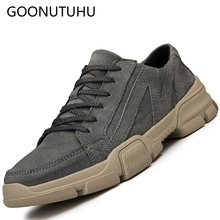 2019 new fashion men's shoes casual leather spring summer lace-up shoe man pig suede sneakers Stitching breathable shoes for men
