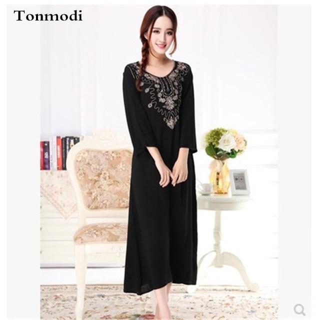 2017 New Sleep Nightgowns Womens Arabian Super Soft fabrics Nightdress  Ladies Loose Nightgown Women Cotton lounge 3edbcc793