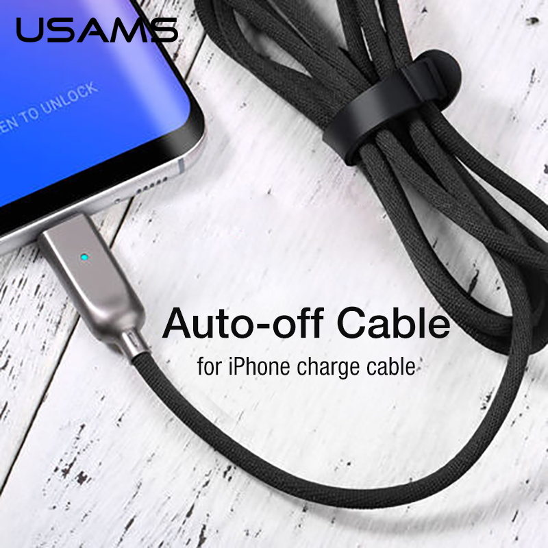 USAMS Data Cable for iPhone Fast Charging 5V/2A Charge Cable Auto Power off Lighting for iPhone 5/5se/6/7/X Charge Cable USB